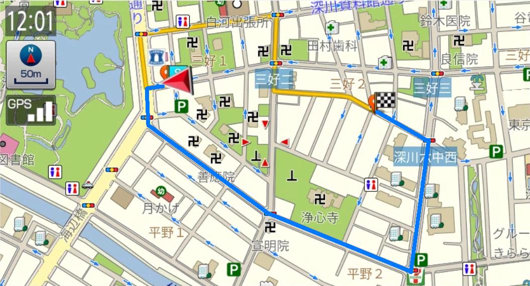 走行軌跡からルート作成の例